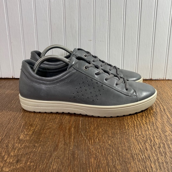 Ecco Grey Leather Lace Up Men's Size 42=US 8-8.5